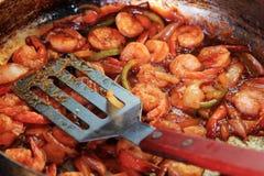Crevettes en sauce rouge photo libre de droits