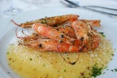 Crevettes en sel Images libres de droits