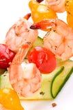 Crevettes et concombre grillés s Photo libre de droits