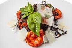 Crevettes frites Carpaccio avec de la sauce photo stock