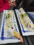 Crevettes frites de sushi délicieuses photographie stock