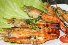 Crevettes grillées image stock