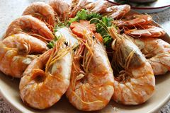 Crevettes grillées bifteck, nourriture délicieuse de crevette de la Thaïlande Photo libre de droits