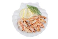Crevettes grillées de la plaque blanche photos libres de droits