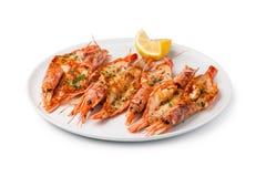 Crevettes grillées fraîches images stock