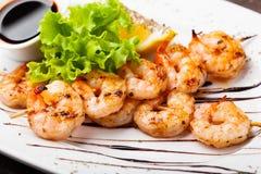 Crevettes grillées fraîches image stock
