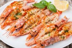 Crevettes grillées fraîches photos stock