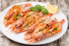 Crevettes grillées fraîches photos libres de droits