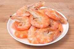 Crevettes préparées de plaque Images libres de droits