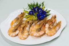 Crevettes roses cuites au four Photo stock