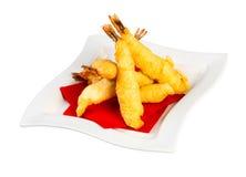 Crevettes roses dans la pâte lisse Photographie stock libre de droits