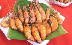 Crevettes roses de rivière grillées Photo stock