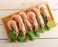 Crevettes roses de tigre avec des feuilles de Basil et des tranches de chaux Image libre de droits