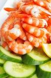 Crevettes roses et concombre Photos stock