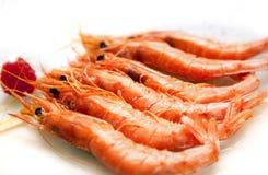 Crevettes roses grillées Photographie stock