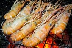 Crevettes roses grillées Photos libres de droits