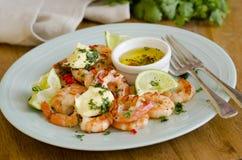 Crevettes roses grillées tout entier Photographie stock libre de droits