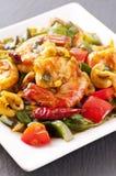 Crevettes roses remuer-frites photos libres de droits