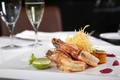 Crevettes royales de tigre avec le citron Photos stock