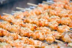 Crevettes sur le gril Images stock