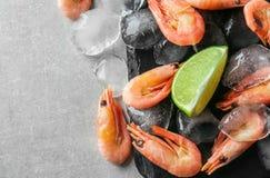 Crevettes surgelées avec de la glace Photos stock