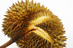 Crevice of durian. Ripening on white Stock Photos