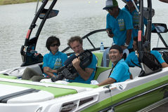 Crew of 2011 IWWF Waterski & Wakeboard Competition. PUTRAJAYA, MALAYSIA-October 9 : The crew make preparation before race start during 2011 IWWF Asian Waterski Stock Photography