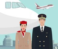Crew of an airliner in uniform at the airport royalty free illustration