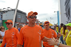 The Crew Of Alvimedica Chat To Supporters - Volvo Ocean Race Sailing Crew Stock Photography
