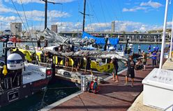 Crew Carrying A Very large Sale Volvo Ocean Race 2017. The Scallywag crew load a sail just before the start of the Round The World Race Royalty Free Stock Images