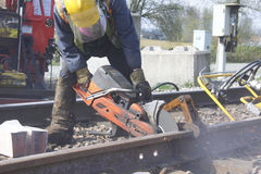 Crew Cutting Railway Track Royalty Free Stock Photo