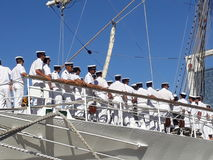 Crew on deck. Frigate Libertad crew Royalty Free Stock Image