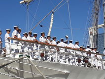 Crew on deck. Frigate Libertad crew Stock Photo