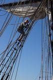 Crew descends the rigging Royalty Free Stock Photo