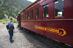 Crew on Durango and Silverton Narrow Gauge Railroad, Silverton, Colorado, USA Royalty Free Stock Image