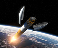 Crew Exploration Vehicle Orbiting Earth Stock Photo