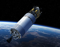 Crew Exploration Vehicle In Space. 3D Scene Royalty Free Stock Photos