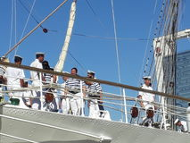 Crew on Frigate. Saying goodbye crew Royalty Free Stock Photography