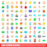 100 crew icons set, cartoon style. 100 crew icons set in cartoon style for any design vector illustration royalty free illustration