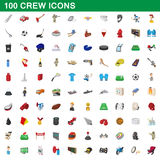 100 crew icons set, cartoon style. 100 crew icons set in cartoon style for any design vector illustration Royalty Free Stock Photo