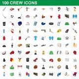 100 crew icons set, cartoon style. 100 crew icons set in cartoon style for any design illustration royalty free illustration