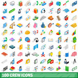 100 crew icons set, isometric 3d style. 100 crew icons set in isometric 3d style for any design vector illustration Royalty Free Stock Image