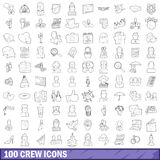 100 crew icons set, outline style Stock Photo