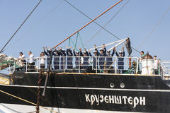 Crew of the Krusenstern ship greet its visitors Stock Photography