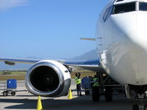 Crew loading airplane Stock Images