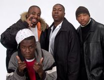 The Crew Looking at You. Four Young Black Men various expressions Royalty Free Stock Photography