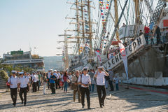 Crew members go ashore. Varna, Bulgaria, October 01, 2016: Varna hosts one of the biggest maritime event - SCF Black Sea Tall Ships Regatta.  Crew members go Royalty Free Stock Photography
