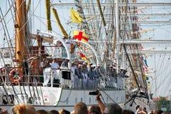 Crew of the mexican Tall Ship Cuauhtemoc Stock Photos