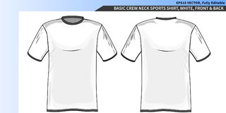 Crew neck white tee shirt template. Crew neck sports tee shirt template, white with shadows and structure, fully editable layers Royalty Free Stock Photography