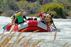 Crew raft while rafting on the river Stock Photo